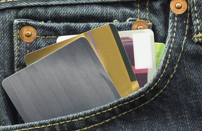 blank credit cards in jeans pocket
