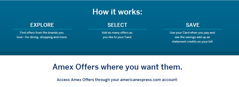 Guidelines for using AMEX Offer